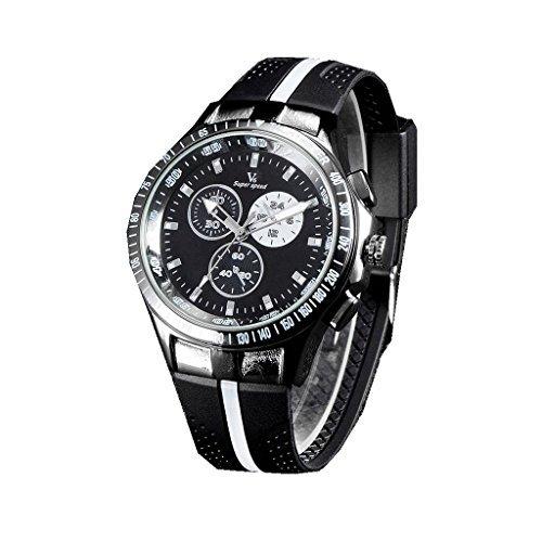 YPS Mens Black Silicone Strap Casual Fashion Quartz Wrist Watches WTH3164