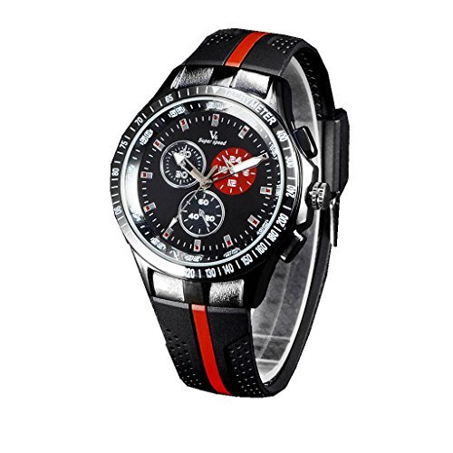 YPS Mens Black Silicone Strap Casual Fashion Quartz Wrist Watches WTH3165
