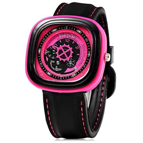 YPS Maenner Frauen Silikon Buegel beilaeufige Quarz Sport Disc Sekunden Militaer Armbanduhr Rose Red WTH3470