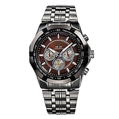 YPS M nner Sport Milit r voller Stahl Quarz Luxus Armbanduhr Brown WTH3384