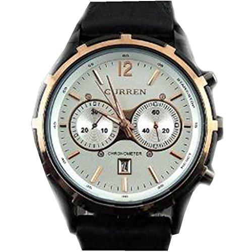 YPS Maenner stilvolle Edelstahl Uhrenarmband Armbanduhr weisses WTH0290