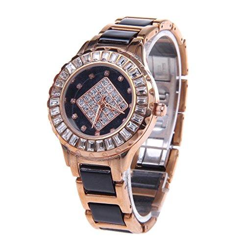 YPS Frauen stilvolle glaenzende Kristall Zifferblatt Analog Quarz Armbanduhr Golden WTH6020