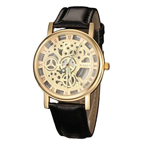 YPS Unisex stilvolle roemischen Ziffern Leder Skeleton Sport Armbanduhr WTH8300