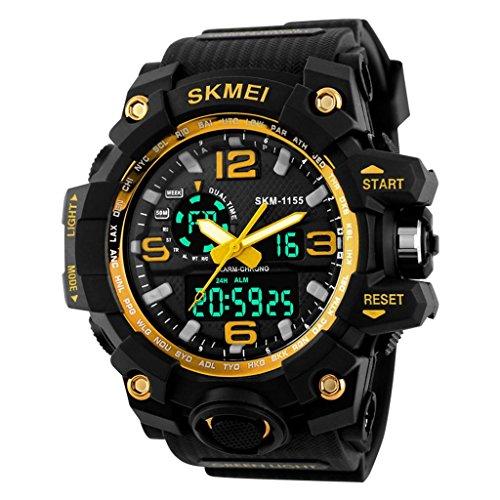 YPS M nner Super Shock Art und Weise doppelte Bewegung Gummiband Sport Armbanduhr Gold WTH3351