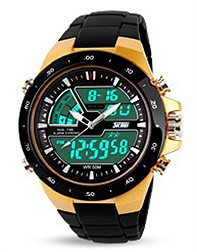 YPS Goldm nner Milit r Sport Qualit tsquarzarmband Multifunktions LED Digital Rights Watch WTH0750