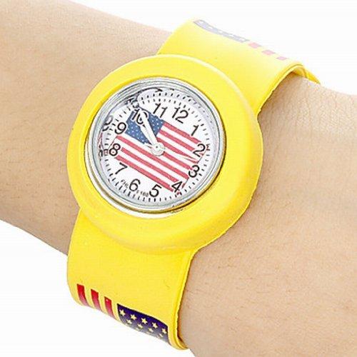 YPS Kinder US Flaggen Muster Biegsame Kunststoff Band Klaps Uhr gelb WTH2630