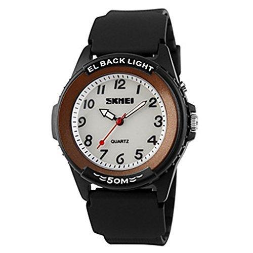 YPS Herren Casual Design Quarz EL zurueck Licht schwarz Silikon ArmbandArmbanduhr WTH3002