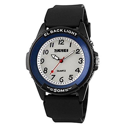 YPS Herren Casual Design Quarz EL zurueck Licht schwarz Silikon ArmbandArmbanduhr WTH3004