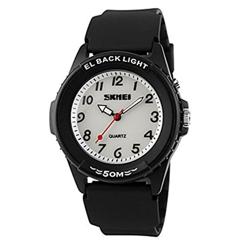 YPS Herren Casual Design Quarz EL zurueck Licht schwarz Silikon ArmbandArmbanduhr WTH3005