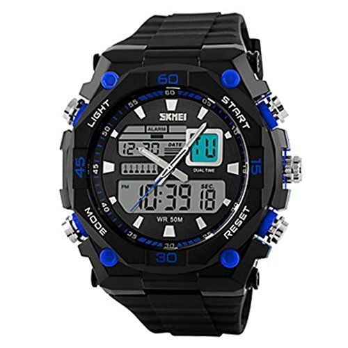 YPS Herren Mode sportlich Analog Digital Display Kalender Chronograph AlarmArmbanduhr WTH3012