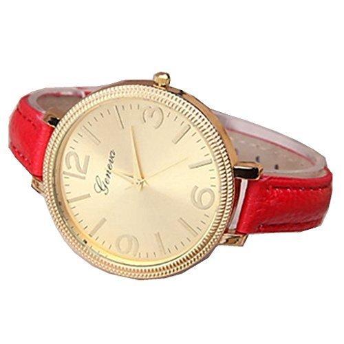 YPS Lady Fashion Gold Genf Slim PU Band Armbanduhr WTH3114
