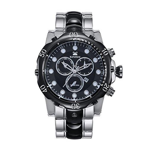 YPS Mann Quarz Edelstahl Band Luxusmode Sports Business Armbanduhr Silber WTH8427