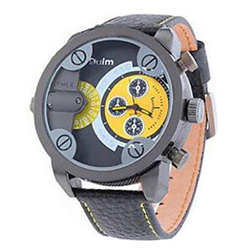 YPS Herren Dual Time Zone runden Zifferblatt Lederband Quarz gelb WTH2600