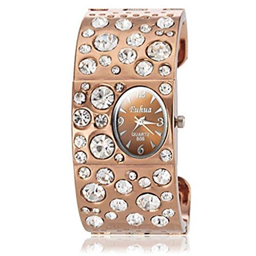 YPS Frauen Diamante runden Zifferblatt Legierung Band Quarz analoge Armbanduhr WTH8336
