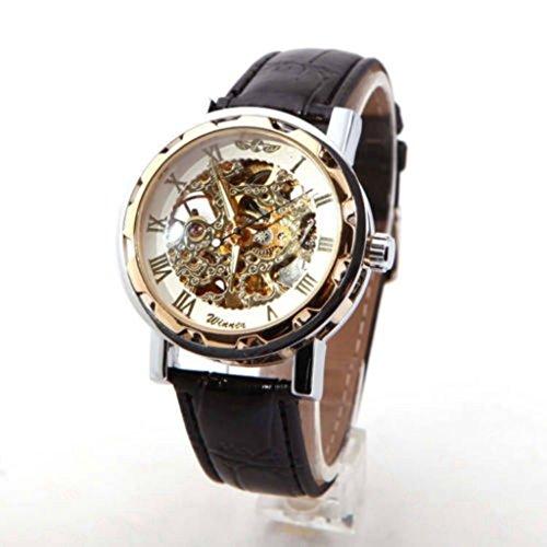 YPS Herren Black Leather Gold Zifferblatt Skeleton mechanische Sport Armee Armbanduhr Silber WTH0744