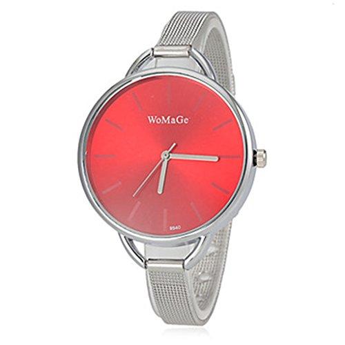 Runden Zifferblatt Schlank Silber Stahl Band Quarz Armbanduhr Red WTH8057 YPS Frauen