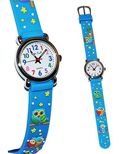 3 D Effekt Kinderuhr Eule blau Uhr Silikon Tiere Eulen Tier Maedchen Jungen Analog Eulenuhr Armbanduhren Kinderarmbanduhr