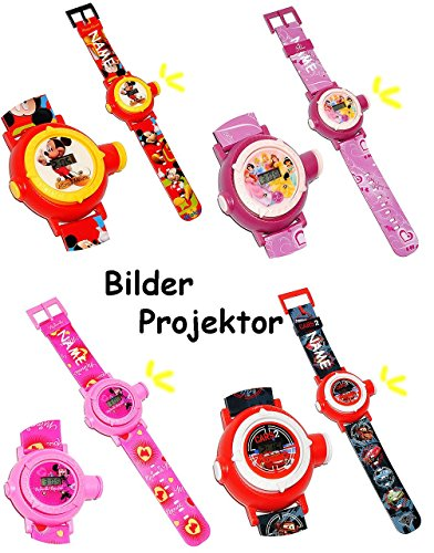 Armbanduhr LED Licht Projektion Disney Minnie Mouse Princess incl Name als Projektor Kinderuhr DIGITAL Lernuhr fuer Maedchen Digitaluhr Uhr Kinder Quarz Analog Lernuhr Quarzuhr