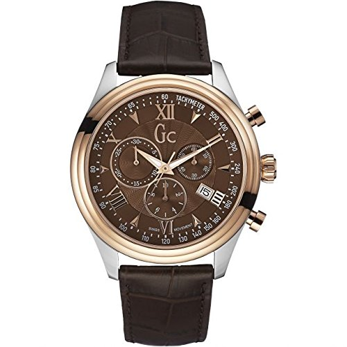 GUESS COLLECTION Montre Homme Guess Collection GC Smart Class Y04003G4 Bracelet Cuir Marron Y04003G4