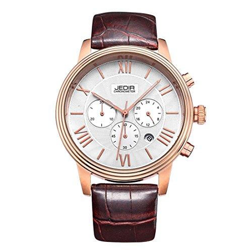 Gute Herren Rose goldfarbene 38 mm Analog Quarz Chronometer Armbanduhr weisses Zifferblatt und braun Kunstleder Riemen