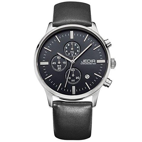 Gute Herren Schwarz Analog Quarz Armbanduhr Chronograph Kunstleder