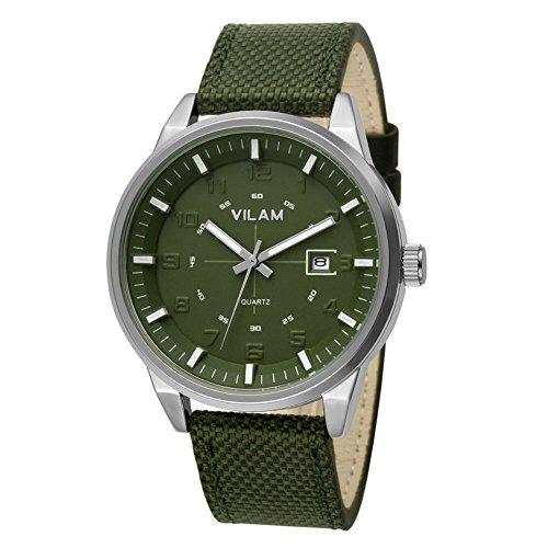 Gute Herren Sport Armee Gruen Kuenstliche Faser Gurt Quarz watch green