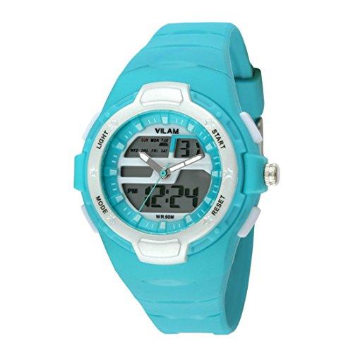 Gute Kinder Sport Armbanduhr Analog Digital Display Tuerkis Quarz