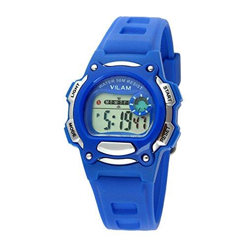 Gute Vivid Blau Farbe PU Gurt Digital Sport Armbanduhr fuer Kinder 5 ATM wasserdicht