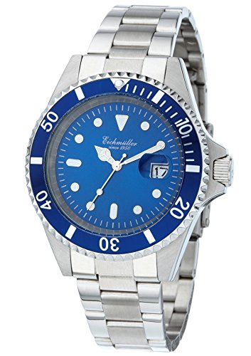 Eichmueller Edelstahl Armbanduhr Silber Blau metallic Datum 20ATM 200m