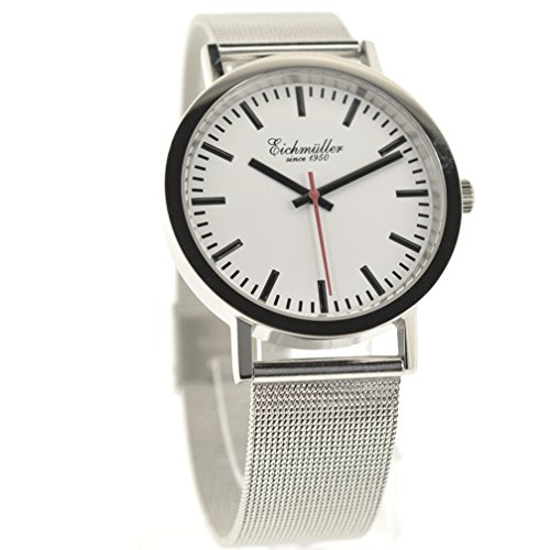 Eichmueller Edelstahl Armbanduhr mit Milanaise Armband Modell Bahnhof
