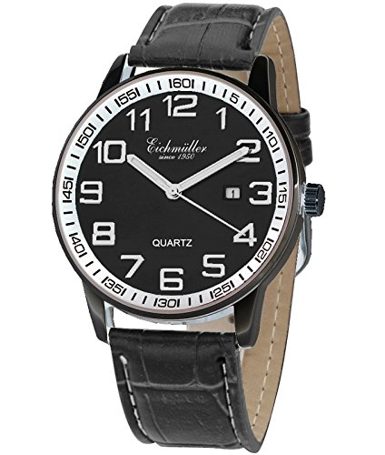 Eichmueller Premium Watch Edelstahl mit Lederband Schwarz Kaliber Miyota 2115 mit Uhrenbox