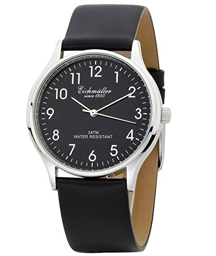 Eichmueller 3 Zeiger Watch mit Lederband Schwarz Kaliber Miyota 2035 Neu mit Uhrenbox