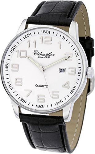 Eichmueller Premium Watch Leder Armband Schwarz Miyota Quarzwerk 2115 inklusive Uhrenbox
