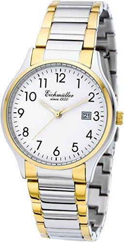 Eichmueller Premium Armbanduhr Bicolor Quartz Miyota 2115 mit Datum und Uhrenbox