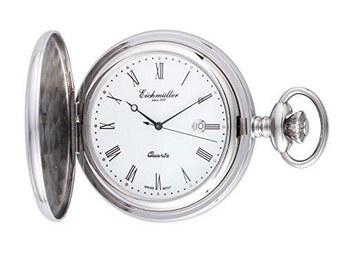 Eichmueller Taschenuhr quartz Stahlgehaeuse mit Kette 8224 02