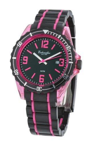 Hochwertige trendige zweifarbige Kunstoffuhr pink
