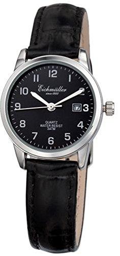 Klassische Eichmueller Leder Armbanduhr schwarz Uhr mit Datum