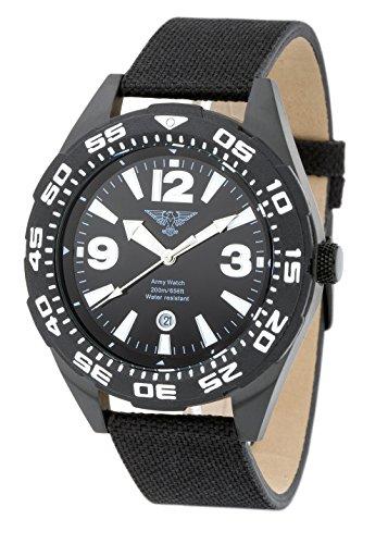 Army Watch Diver Schwarz Armbanduhr Militaer