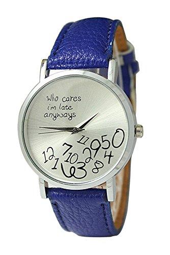 Armbanduhr SODIAL R Unisex Uhr mit who cares im late anyways und Arabischen Nummern Kunstleder Armbanduhr Quarz Analog Uhr Dunkelblau