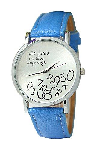Armbanduhr SODIAL R Unisex Uhr mit who cares im late anyways und Arabischen Nummern Kunstleder Armbanduhr Quarz Analog Uhr Hellblau