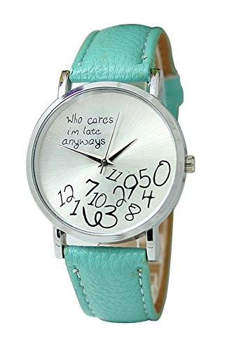 Armbanduhr SODIAL R Unisex Uhr mit who cares im late anyways und Arabischen Nummern Kunstleder Armbanduhr Quarz Analog Uhr Tadelloses Gruen