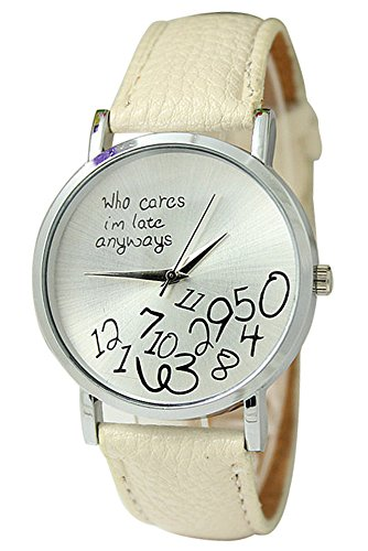 Armbanduhr SODIAL R Unisex Uhr mit who cares im late anyways und Arabischen Nummern Kunstleder Armbanduhr Quarz Analog Uhr Beige