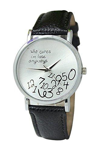 Armbanduhr SODIAL R Unisex Uhr mit who cares im late anyways und Arabischen Nummern Kunstleder Armbanduhr Quarz Analog Uhr Schwarz