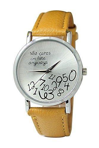 Armbanduhr SODIAL R Unisex Uhr mit who cares im late anyways und Arabischen Nummern Kunstleder Armbanduhr Quarz Analog Uhr Ingwer gelb