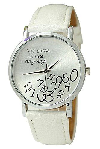 Armbanduhr SODIAL R Unisex Uhr mit who cares im late anyways und Arabischen Nummern Kunstleder Armbanduhr Quarz Analog Uhr Weiss