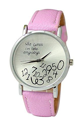 Armbanduhr SODIAL R Unisex Uhr mit who cares im late anyways und Arabischen Nummern Kunstleder Armbanduhr Quarz Analog Uhr Rosa