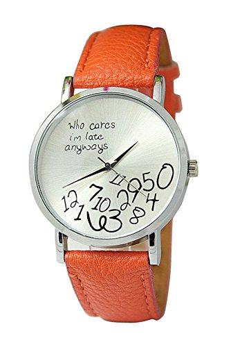 Armbanduhr SODIAL R Unisex Uhr mit who cares im late anyways und Arabischen Nummern Kunstleder Armbanduhr Quarz Analog Uhr Orange