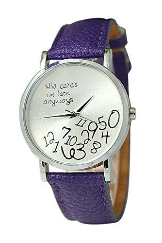 Armbanduhr SODIAL R Unisex Uhr mit who cares im late anyways und Arabischen Nummern Kunstleder Armbanduhr Quarz Analog Uhr Lila