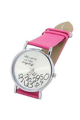 Armbanduhr SODIAL R Who Cares Im Late Anyways Buchstaben Arabische Ziffern gedruckte Armbanduhr Rose Rot