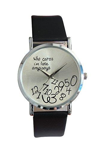 Armbanduhr SODIAL R Who Cares Im Late Anyways Buchstaben Arabische Ziffern gedruckte Armbanduhr Schwarz